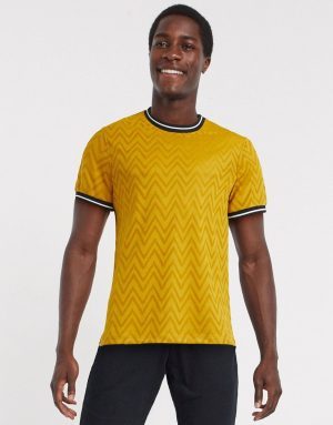 ASOS DESIGN t-shirt with tipping in chevron yellow jersey