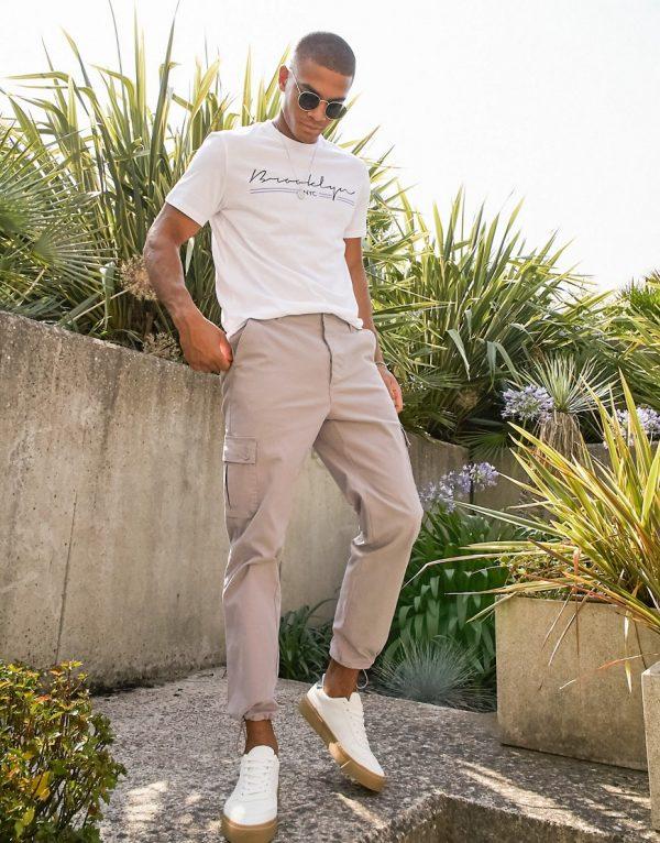 ASOS DESIGN tapered cargo pants in brown