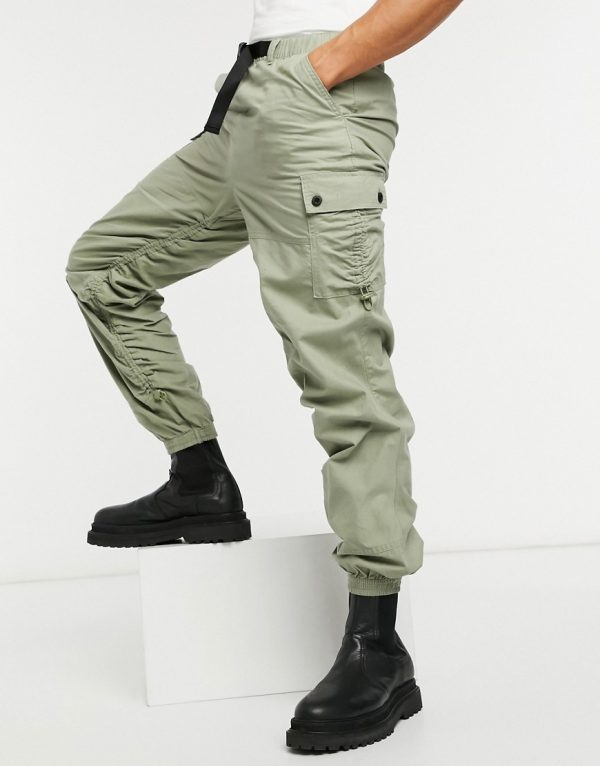 ASOS DESIGN tapered cargo sweatpants with ruching detail-Green