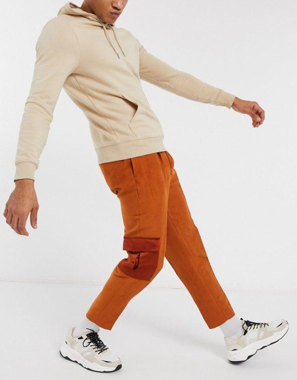 ASOS DESIGN tapered smart pants in rust suedette and sateen look cargo pocket-Tan