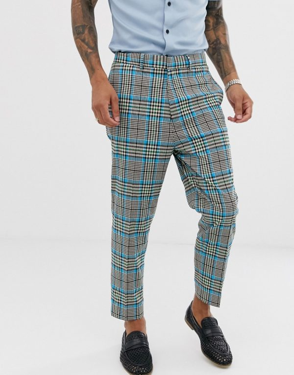 ASOS DESIGN tapered suit pants with color pop check-Gray