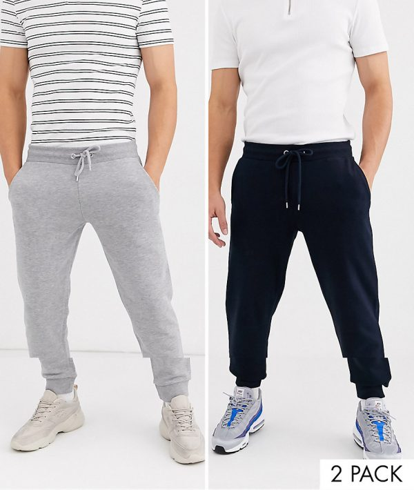 ASOS DESIGN tapered sweatpants 2 pack in gray marl/navy-Multi