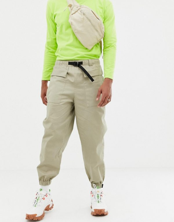 ASOS DESIGN tapered utility pants in stone-Neutral
