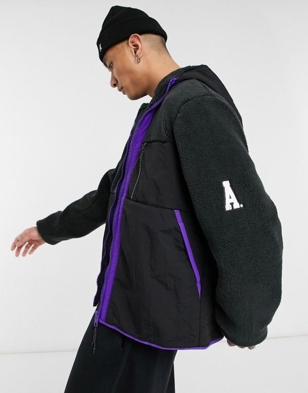 ASOS DESIGN teddy jacket with contrast panel in purple and black