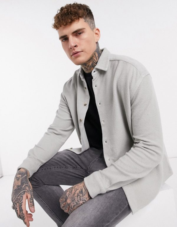 ASOS DESIGN towelling '90s style oversized shirt in sage green
