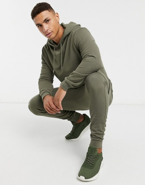 ASOS DESIGN tracksuit with hoodie & skinny cargo sweatpants in khaki-Green