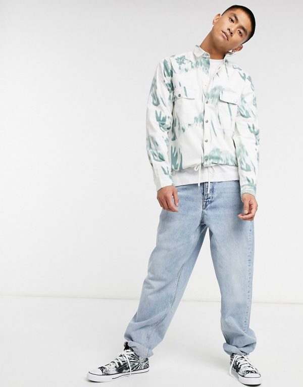ASOS DESIGN twill overshirt in abstract print with drawstring-Beige