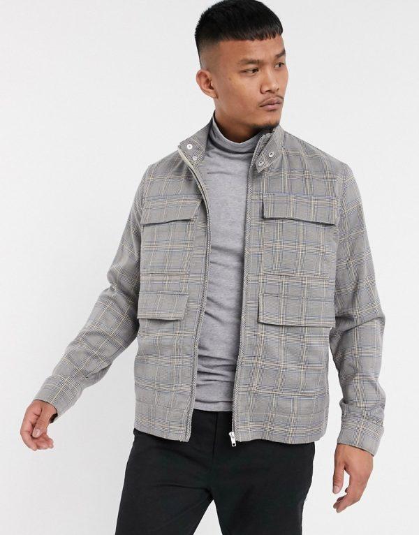 ASOS DESIGN two-piece check harrington jacket-Gray