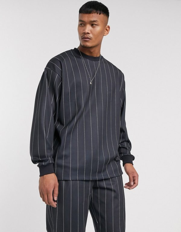 ASOS DESIGN two-piece oversized poly tricot sweatshirt with all over stripes-Black