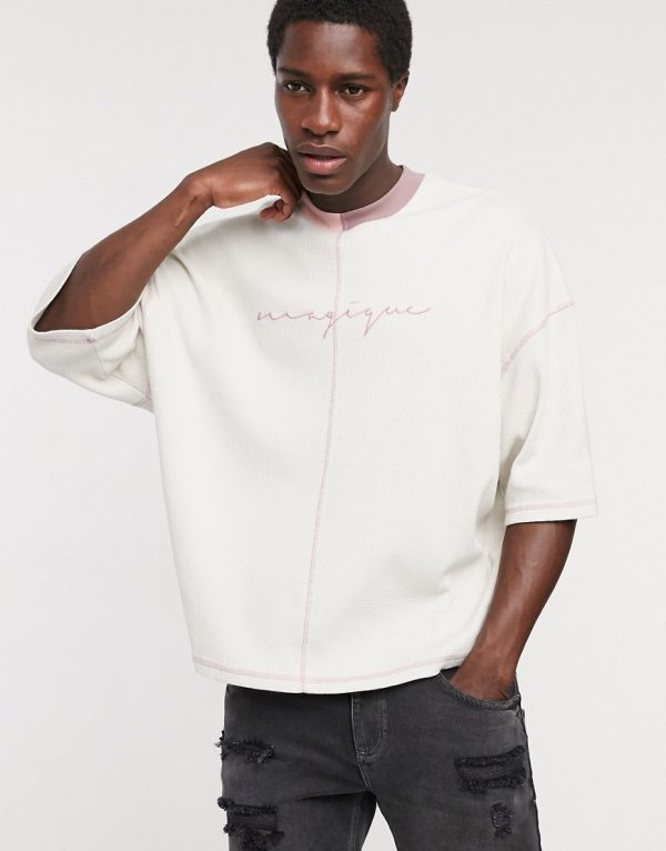 ASOS DESIGN two-piece oversized t-shirt with contrast stitch and magique embroidery in waffle-Neutral