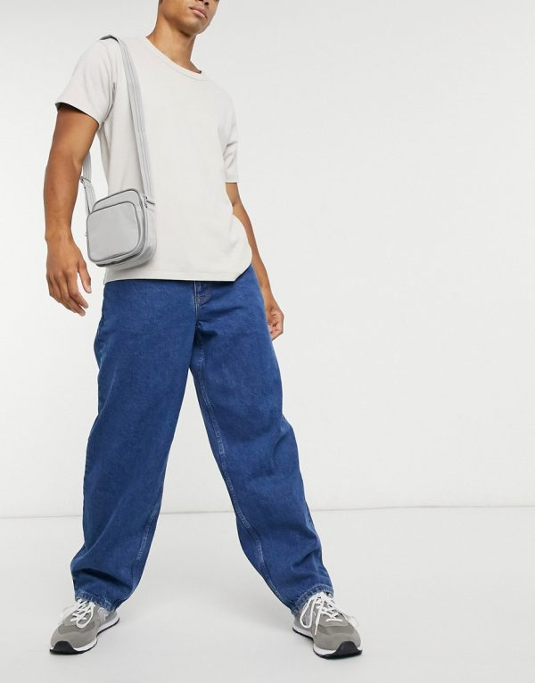 ASOS DESIGN ultra baggy jeans in mid wash blue-Blues