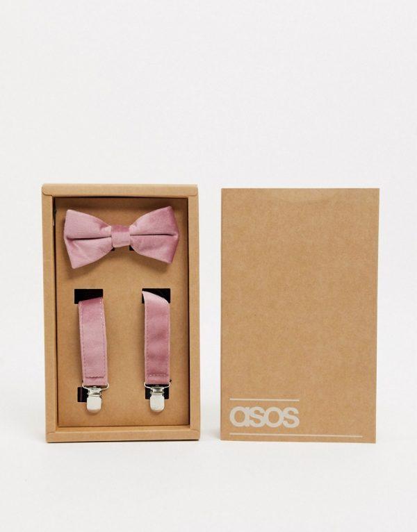 ASOS DESIGN velvet suspenders in light pink