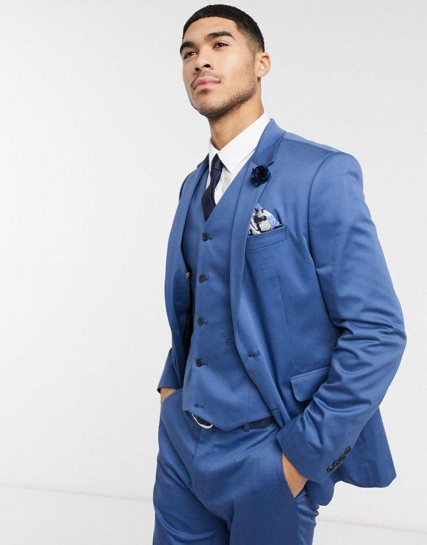 ASOS DESIGN wedding skinny suit jacket in blue stretch cotton-Blues
