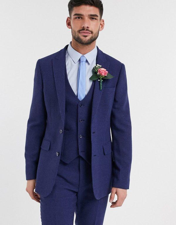 ASOS DESIGN wedding skinny suit jacket in blue wool blend micro houndstooth-Blues