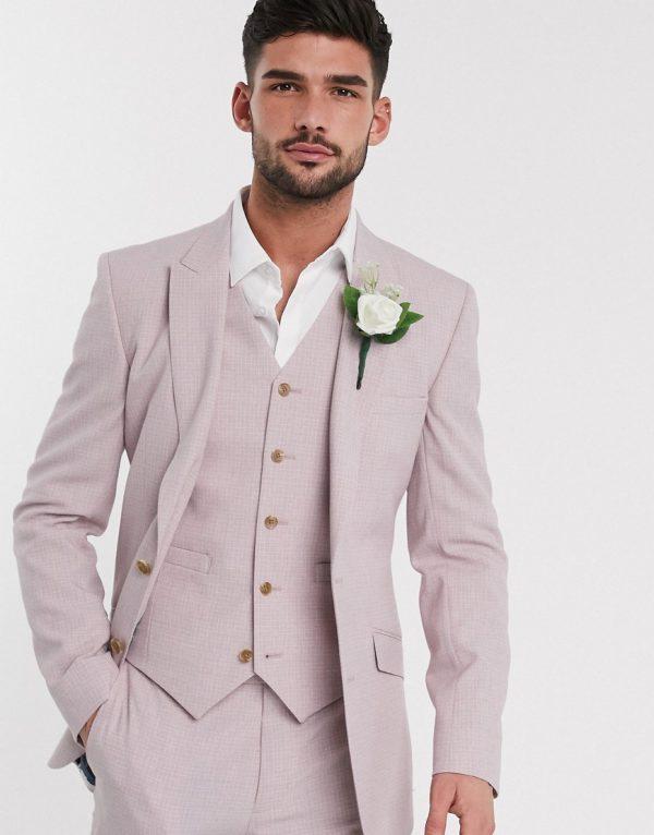 ASOS DESIGN wedding skinny suit jacket in crosshatch in rose pink
