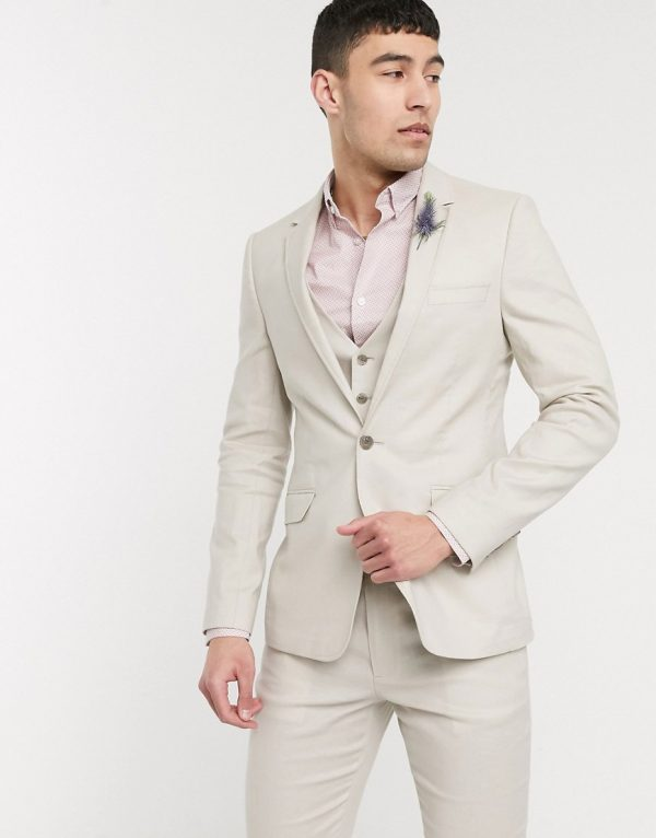 ASOS DESIGN wedding skinny suit jacket in stretch cotton linen in stone-Neutral