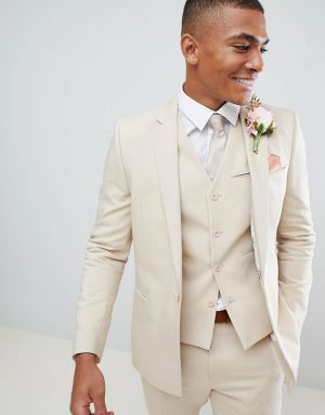 ASOS DESIGN wedding skinny suit jacket with square hem in stone-Neutral