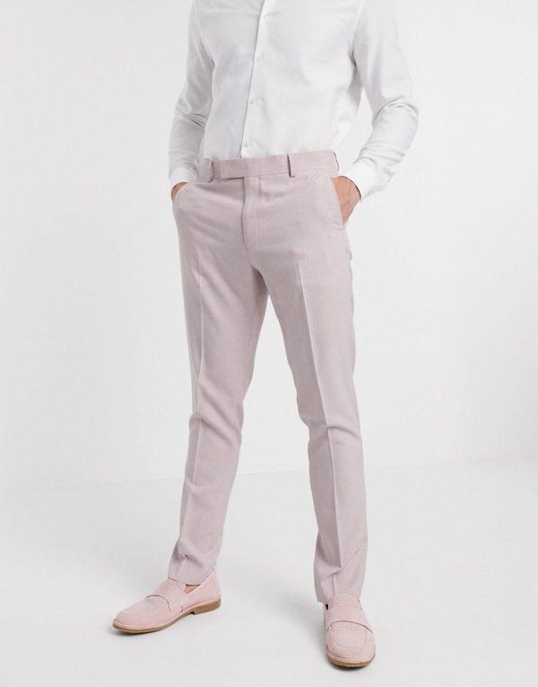 ASOS DESIGN wedding skinny suit pants in crosshatch in rose pink