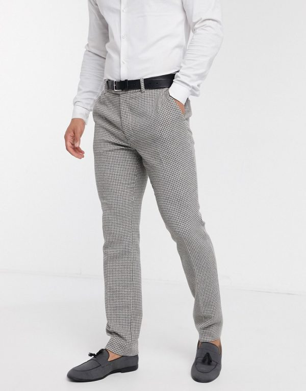 ASOS DESIGN wedding skinny suit pants in gray wool blend micro houndstooth-Grey