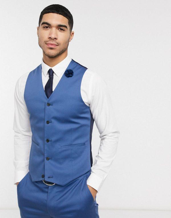 ASOS DESIGN wedding skinny suit suit vest in blue stretch cotton-Blues