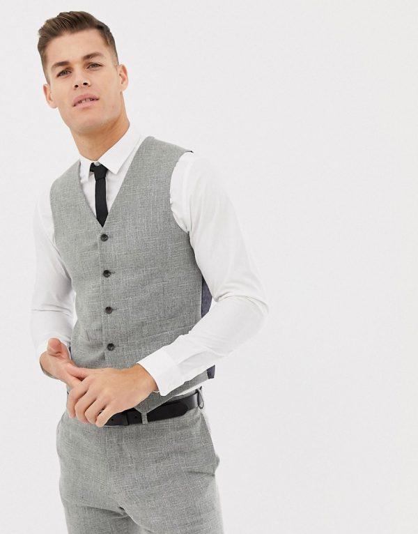 ASOS DESIGN wedding skinny suit vest in gray cross hatch-Neutral