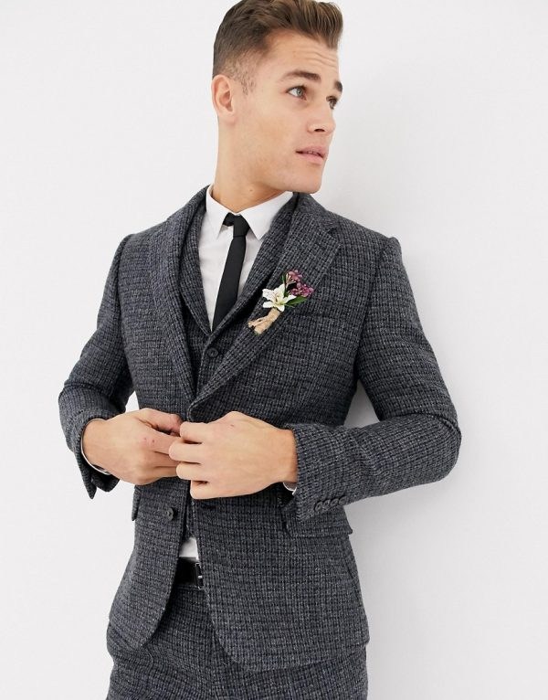 ASOS DESIGN wedding slim suit jacket in 100% wool Harris Tweed blue micro check-Blues