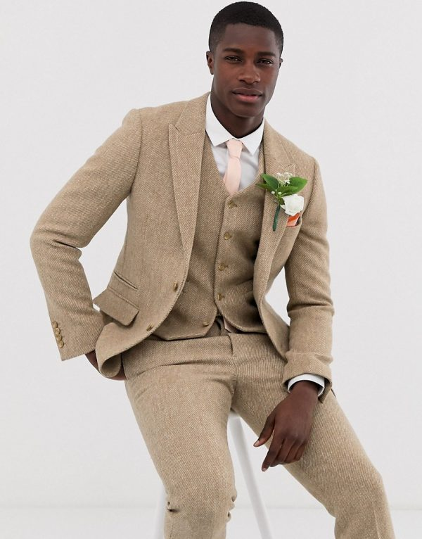 ASOS DESIGN wedding slim suit jacket in 100% wool Harris Tweed in camel-Neutral