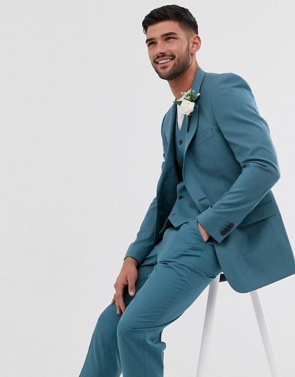 ASOS DESIGN wedding slim suit jacket in mid blue