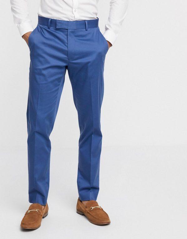 ASOS DESIGN wedding slim suit pants in blue stretch cotton-Blues