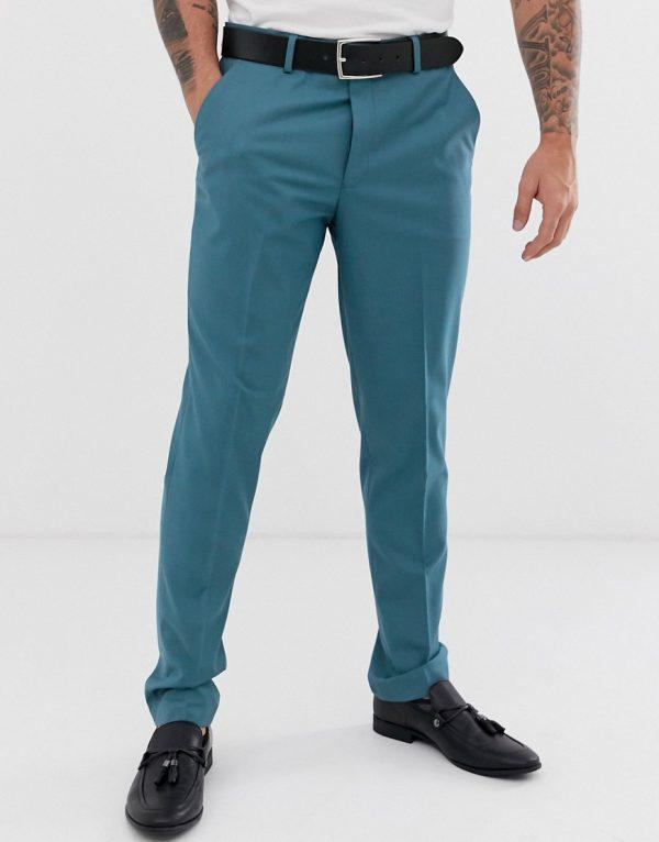 ASOS DESIGN wedding slim suit pants in mid blue