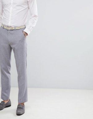 ASOS DESIGN wedding slim suit pants in mid gray cross hatch