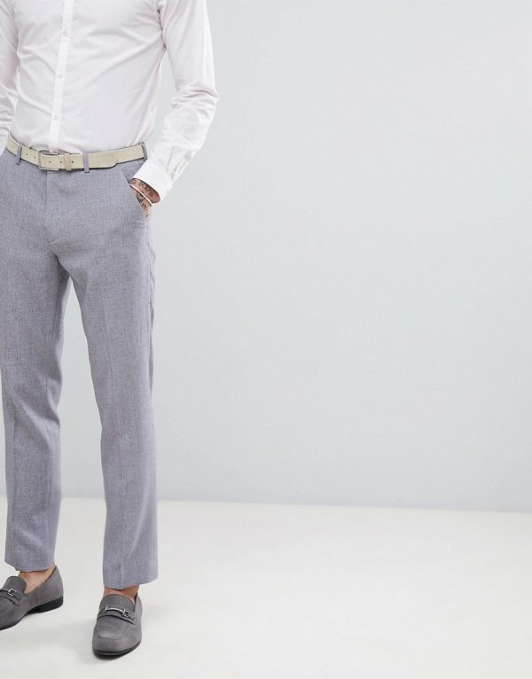 ASOS DESIGN wedding slim suit pants in mid gray cross hatch