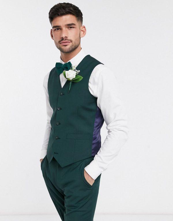 ASOS DESIGN wedding slim suit suit vest in forest green