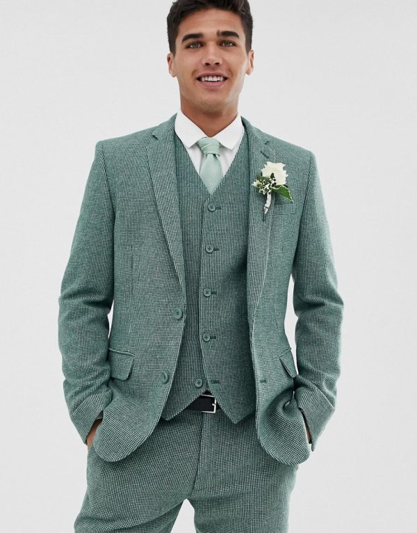 ASOS DESIGN wedding super skinny suit jacket in green wool blend mini check