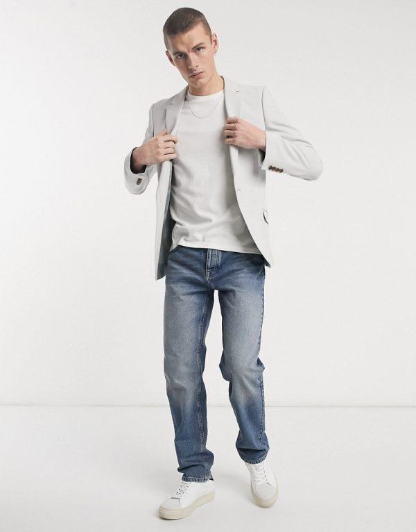 ASOS DESIGN wedding super skinny suit jacket in ice gray-Grey