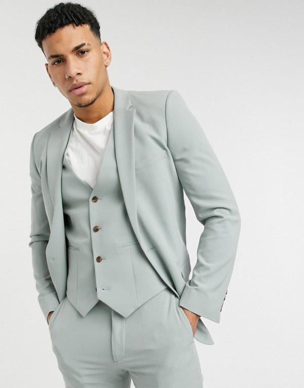 ASOS DESIGN wedding super skinny suit jacket in sage green