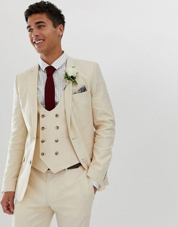 ASOS DESIGN wedding super skinny suit jacket in stone linen-Neutral