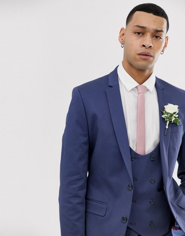 ASOS DESIGN wedding super skinny suit jacket in stretch cotton in indigo blue-Blues