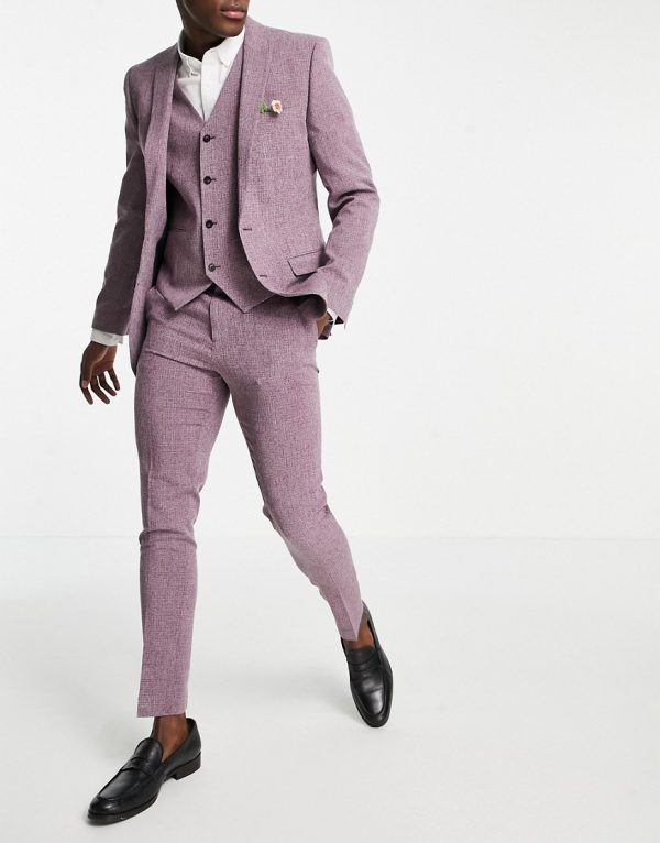ASOS DESIGN wedding super skinny suit pants in crosshatch in wine twist-Pink