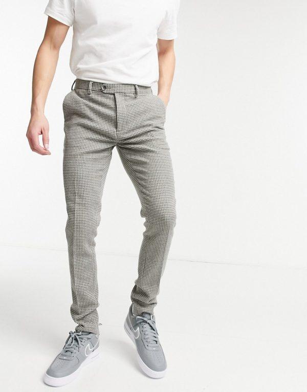 ASOS DESIGN wedding super skinny suit pants in gray wool blend micro houndstooth-Grey