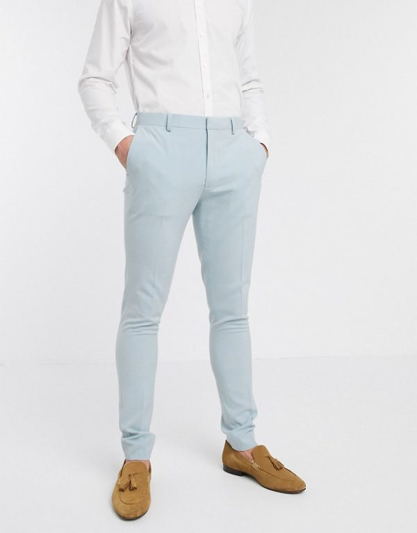 ASOS DESIGN wedding super skinny suit pants in pastel blue-Blues