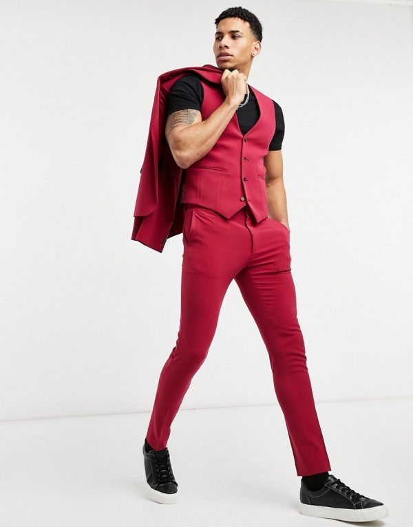 ASOS DESIGN wedding super skinny suit pants in red