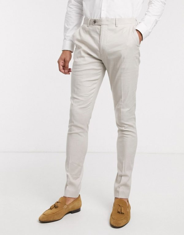 ASOS DESIGN wedding super skinny suit pants in stretch cotton linen in stone-Neutral