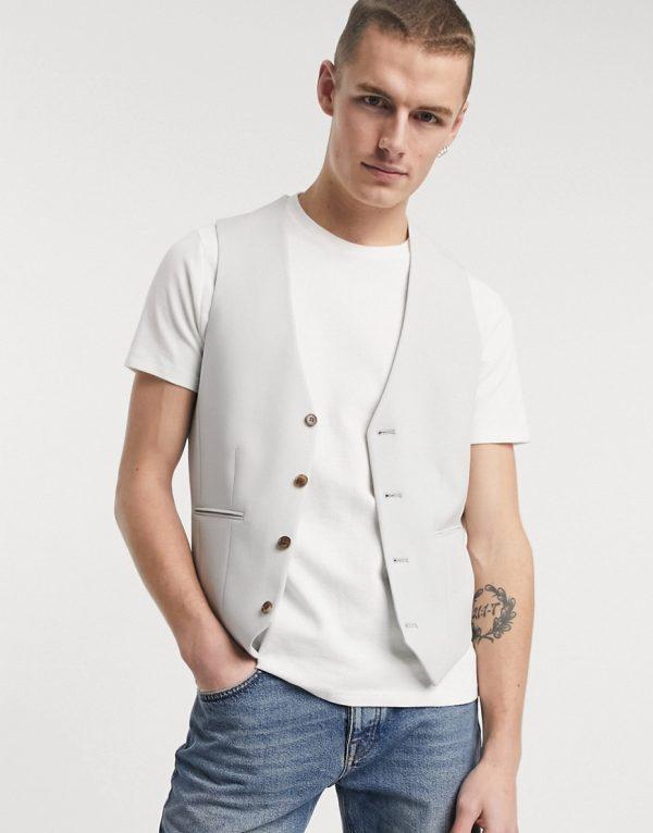 ASOS DESIGN wedding super skinny suit suit vest in ice gray-Grey