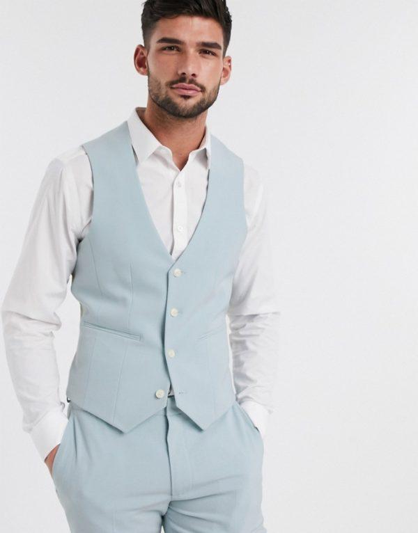 ASOS DESIGN wedding super skinny suit suit vest in pastel blue-Blues