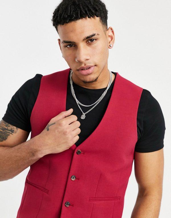 ASOS DESIGN wedding super skinny suit vest in red