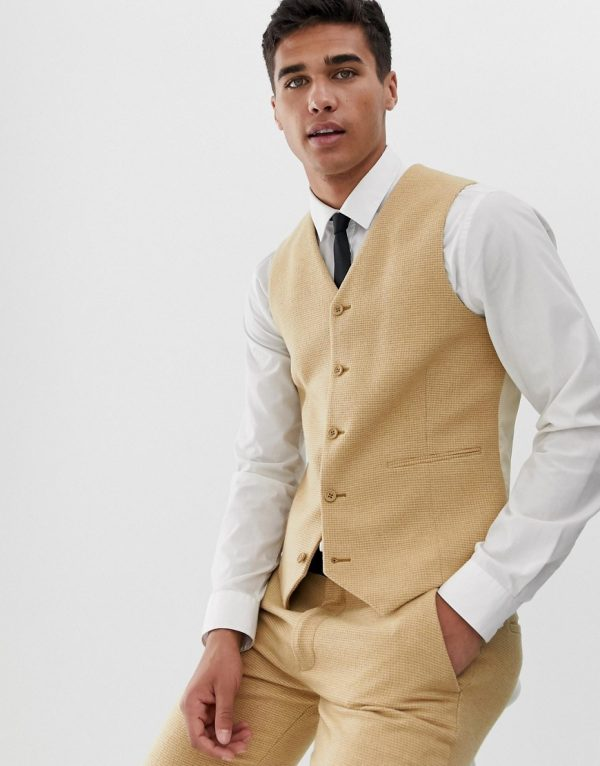 ASOS DESIGN wedding super skinny suit vest in stone wool blend micro check-Neutral