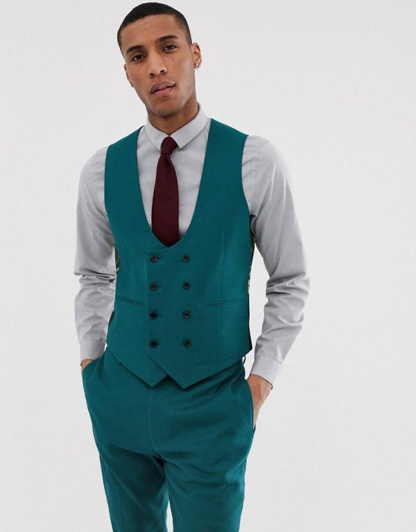 ASOS DESIGN wedding super skinny suit vest in teal linen-Blues