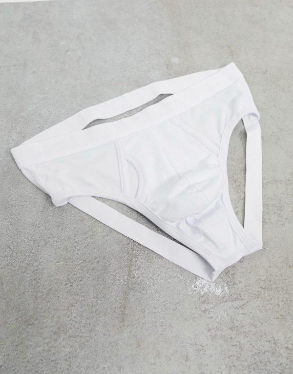 ASOS DESIGN white brief jock strap