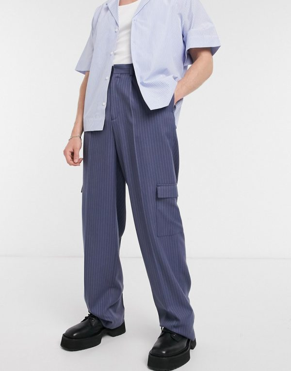 ASOS DESIGN wide leg smart pants in navy pinstripe and cargo pockets